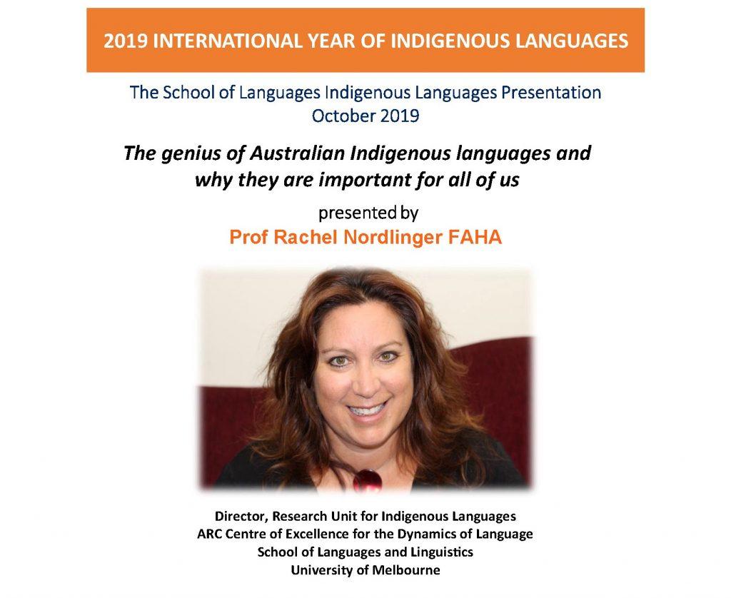School of Languages Indigenous Languages Presentation October 2019