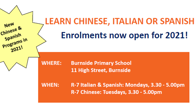 LEARN CHINESE, ITALIAN OR SPANISH AT BURNSIDE PRIMARY SCHOOL